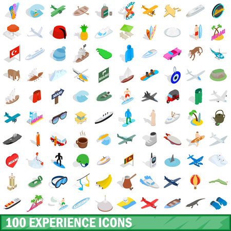 100 experience icons set in isometric 3d style for any design vector illustration Illustration