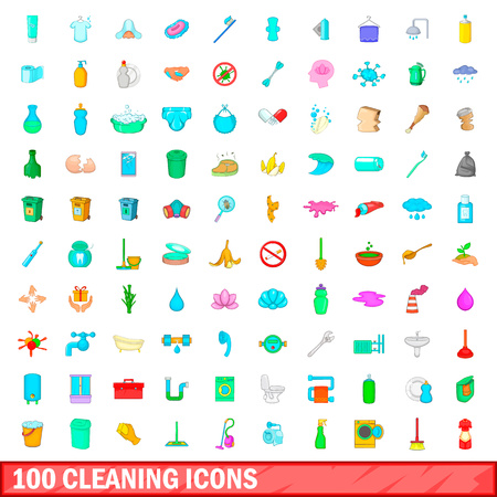 100 cleaning icons set in cartoon style for any design vector illustration