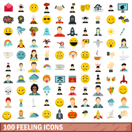100 feeling icons set in flat style for any design vector illustration