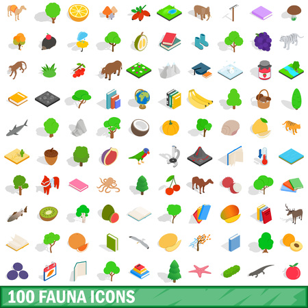 100 fauna icons set in isometric 3d style for any design vector illustration Illustration