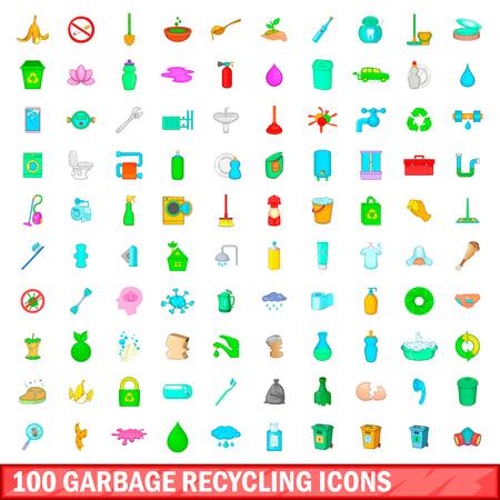 모든 디자인 벡터 일러스트 레이 션을위한 만화 스타일에서 설정하는 100 가비지 재활용 아이콘