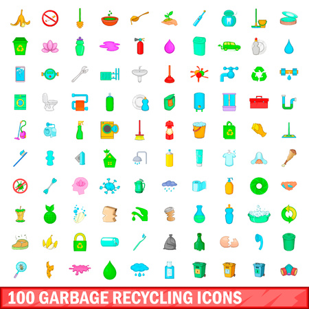 100 garbage recycling icons set in cartoon style for any design vector illustration