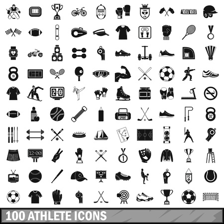 ruffian: 100 athlete icons set in simple style for any design vector illustration Illustration