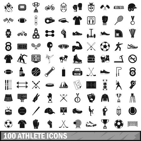 100 die atletenpictogrammen in eenvoudige stijl voor om het even welke ontwerp vectorillustratie worden geplaatst Stock Illustratie