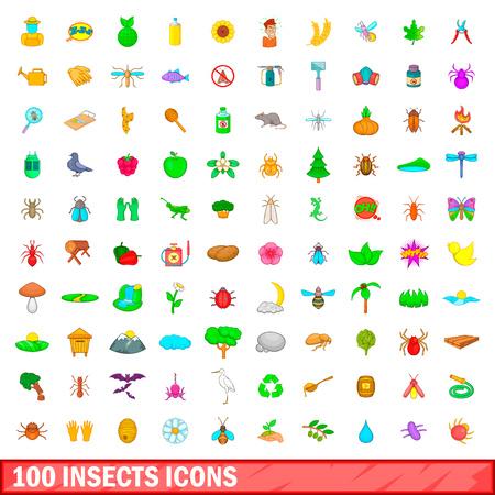 100 Insekten Icons in Cartoon-Stil für jede Design-Vektor-Illustration gesetzt