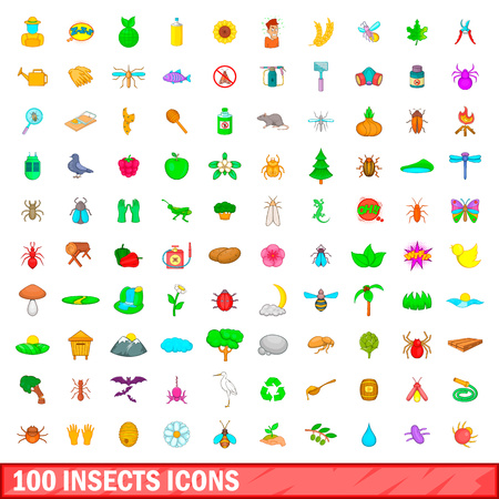 100 insects icons set in cartoon style for any design vector illustration