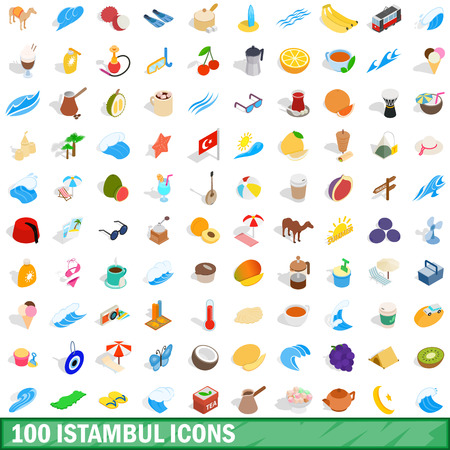 100 istambul icons set in isometric 3d style for any design vector illustration