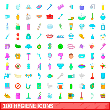 100 hygiene icons set in cartoon style for any design vector illustration