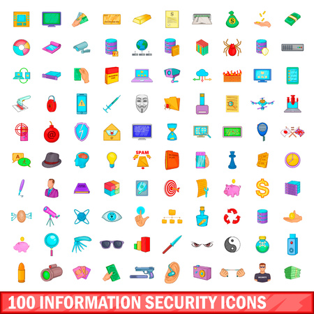 100 information security icons set in cartoon style for any design vector illustration