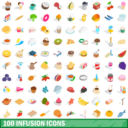 100 infusion icons set in isometric 3d style for any design vector illustration