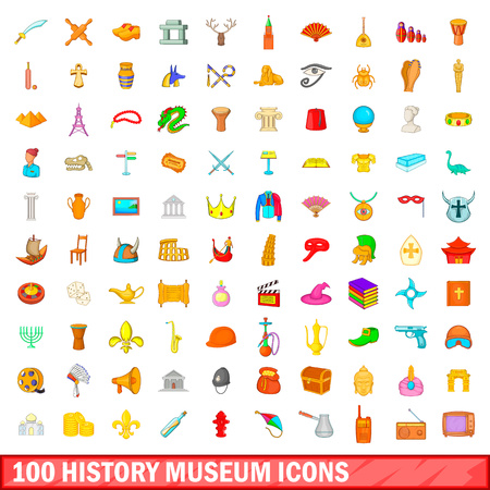 100 history museum icons set in cartoon style for any design vector illustration Illustration