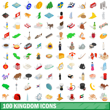 london tower bridge: 100 kingdom icons set in isometric 3d style for any design vector illustration