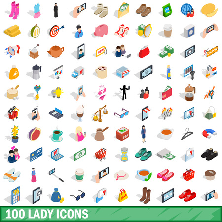 perfumery: 100 lady icons set in isometric 3d style for any design vector illustration