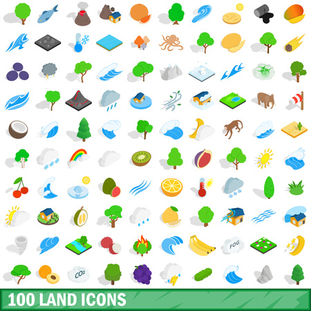 100 land icons set in isometric 3d style for any design vector illustration Imagens - 76601543