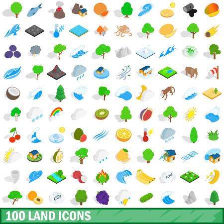 100 land icons set in isometric 3d style for any design vector illustration Ilustração