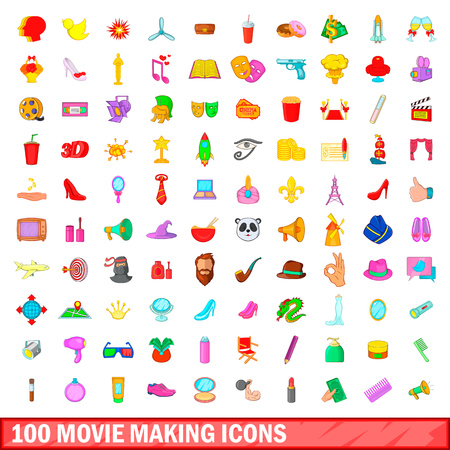 100 movie making icons set in cartoon style for any design vector illustration Illustration