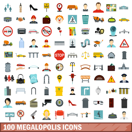 london tower bridge: 100 megalopolis icons set in flat style for any design vector illustration