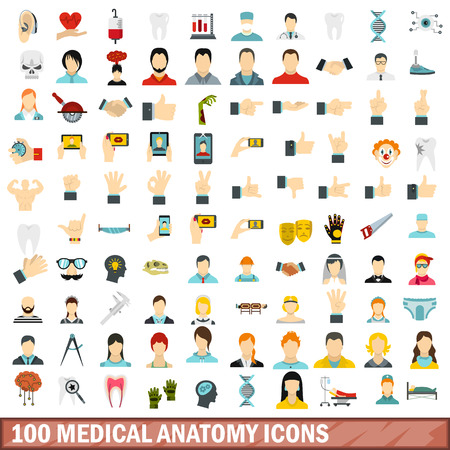 100 medical anatomy icons set in flat style for any design vector illustration Ilustrace
