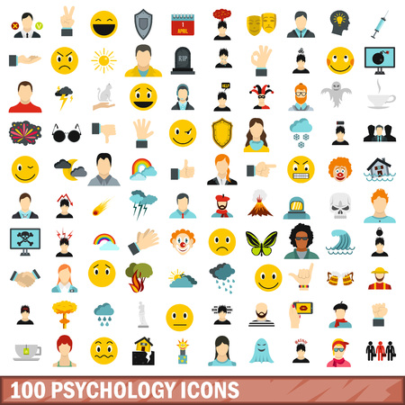 indignation: 100 psychology icons set in flat style for any design vector illustration