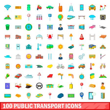 100 icônes de transport public dans le style mis en bande dessinée pour une illustration vectorielle design Vecteurs