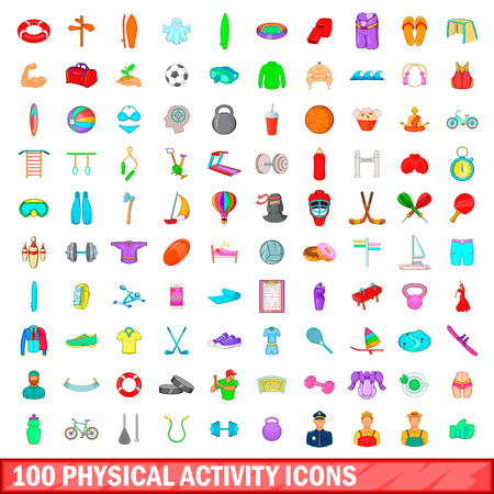 100 phisical activity icons set in cartoon style for any design vector illustration Illustration