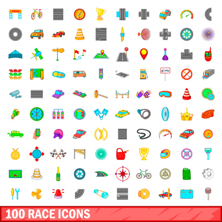 100 race icons set in cartoon style for any design vector illustration