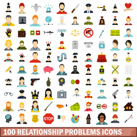 doctor money: 100 relationship problems icons set in flat style for any design vector illustration