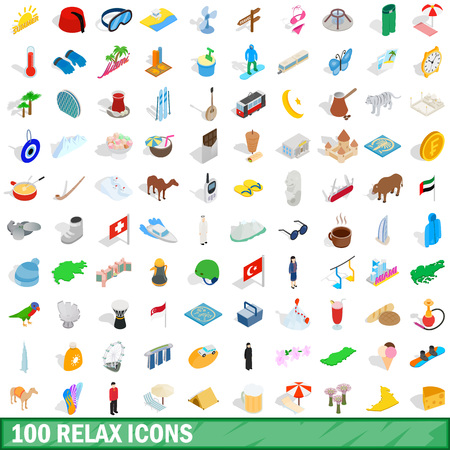 swimming candles: 100 relax icons set in isometric 3d style for any design vector illustration Illustration