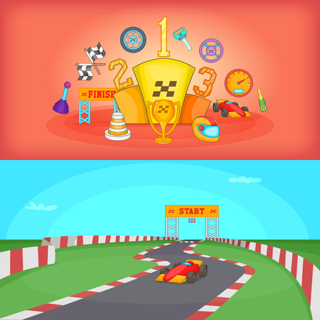 Sport race banner set horizontal in cartoon style for any design vector illustration Illustration