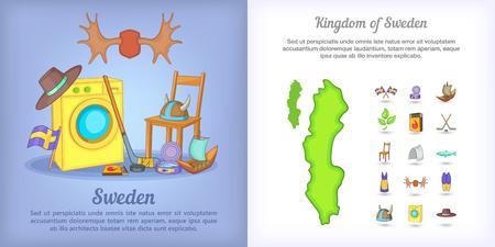 Schweden Banner gesetzt in Cartoon-Stil für jede Design-Vektor-Illustration Standard-Bild - 76607586