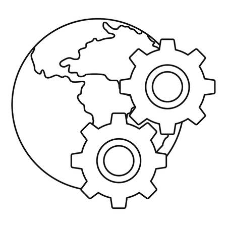 World planet and gears icon in outline style isolated on white background vector illustration