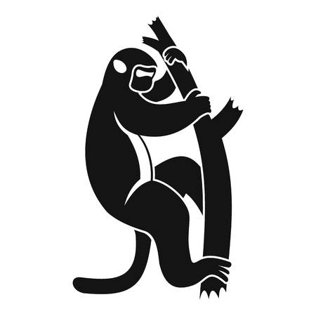 Macaque on a tree icon. Simple illustration of macaque on a tree vector icon for web Illustration