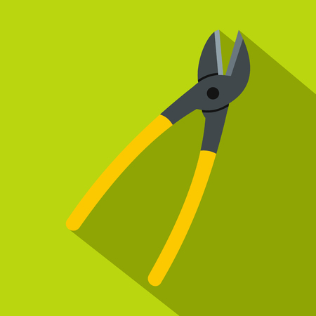 Metal shears icon. Flat illustration of metal shears vector icon for web on lime background