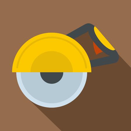Yellow cut off machine icon. Flat illustration of yellow cut off machine vector icon for web on coffee background Illustration