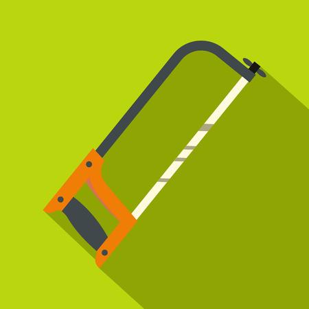 Hacksaw with orange handle icon. Flat illustration of hacksaw with orange handle vector icon for web on lime background