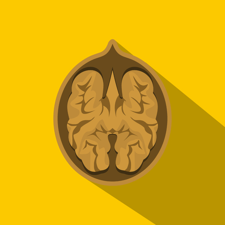 nutty: Walnut icon. Flat illustration of walnut vector icon for web on yellow background