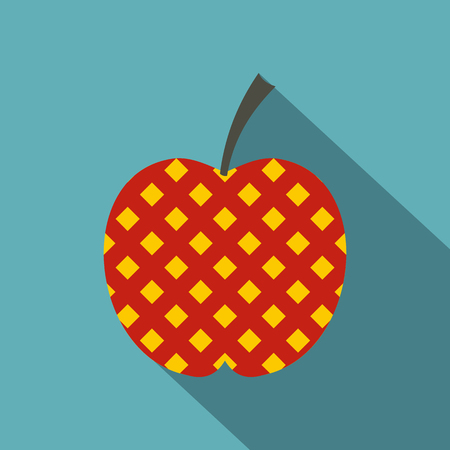 Red and yellow checkered apple icon. Flat illustration of red and yellow checkered apple vector icon for web on baby blue background