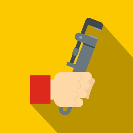 Hand holding  calipers icon. Flat illustration of hand holding  calipers vector icon for web on yellow background