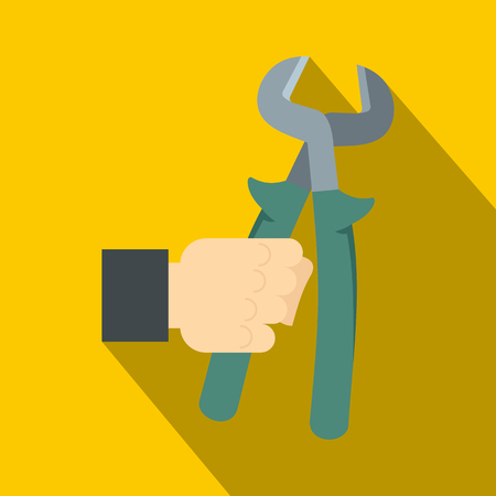 Pincer or plier in man hand icon. Flat illustration of pincer or plier in man hand vector icon for web on yellow background Illustration