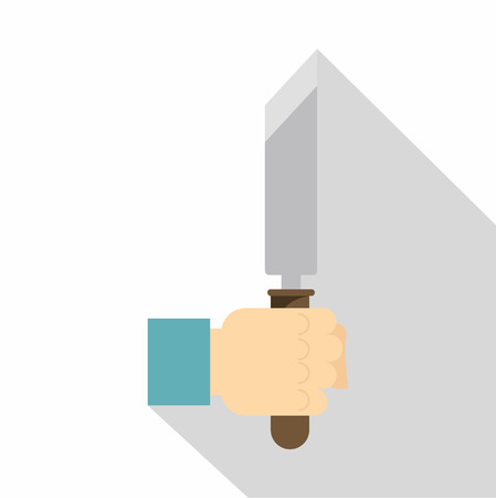 mason: Hand holding chisel icon. Flat illustration of hand holding chisel vector icon for web on white background Illustration