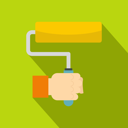Hand holding paint roller icon. Flat illustration of hand holding paint roller vector icon for web on lime background