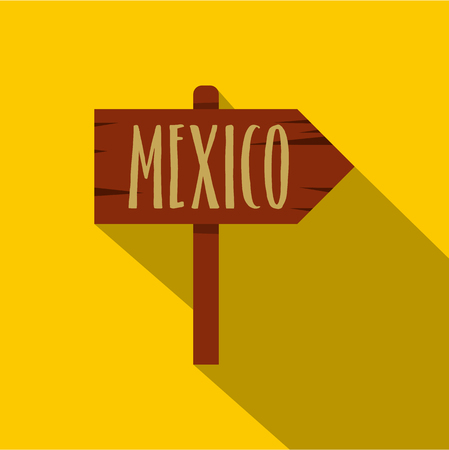 plywood: Mexico wooden direction arrow sign icon flat style Illustration