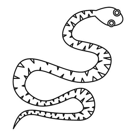 dangerous: Black snake wriggling icon, outline style Illustration