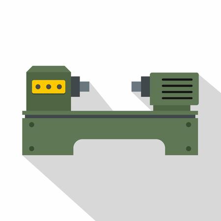 Lathe machine icon, flat style Ilustração