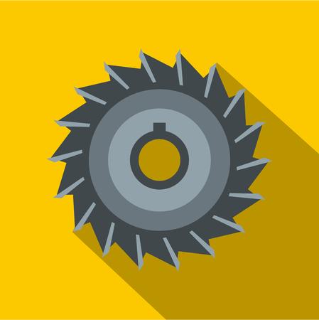 Circular saw disk icon, flat style Illustration