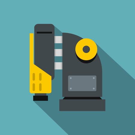 building site: Pneumatic hammer machine icon, flat style