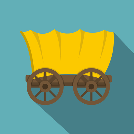 Ancient western covered wagon icon Illustration