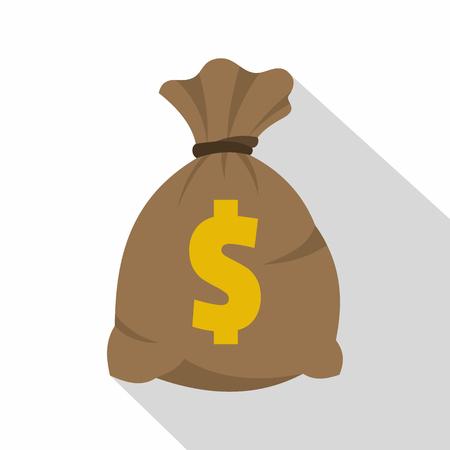 Money bag with US dollar sign icon, flat style Illustration
