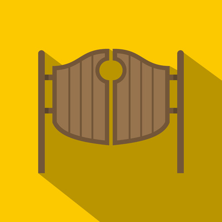 Vintage western swinging saloon doors icon Illustration