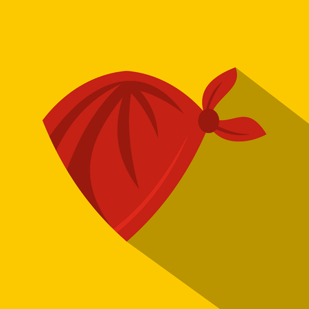 Red cowboy neckerchief icon. Flat illustration of red cowboy neckerchief vector icon for web on yellow background Illustration
